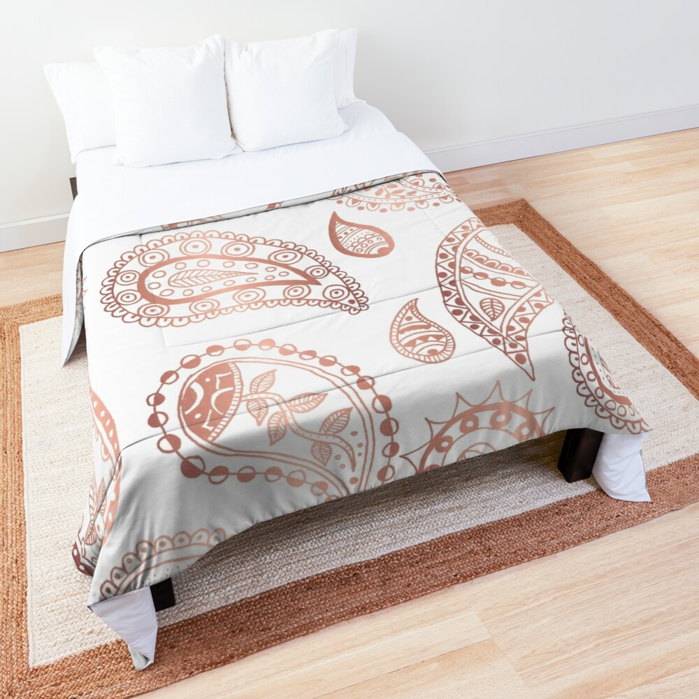 Roségold Paisley-Muster Tagesdecke