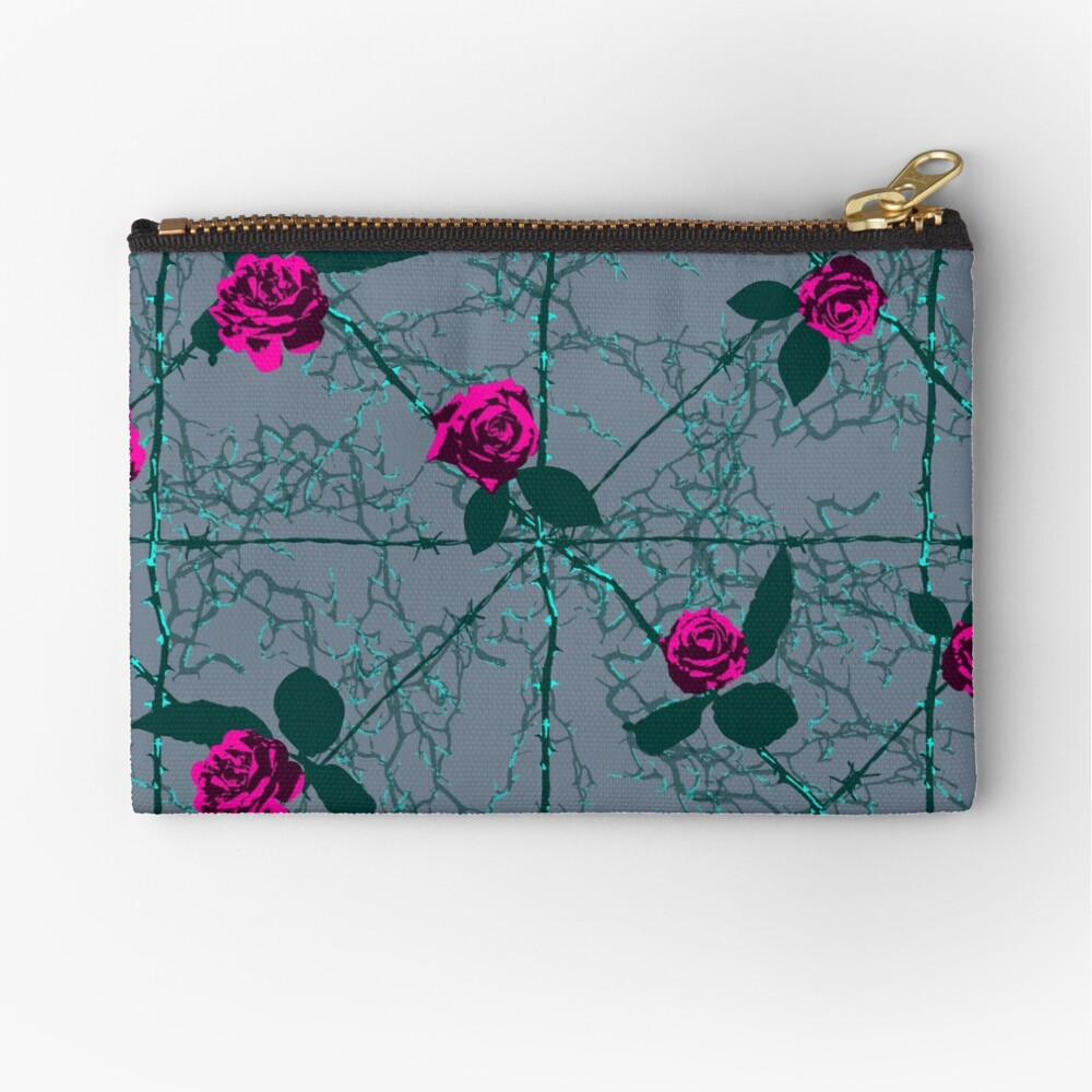 Barbed Rose - Grey Zipper Pouch