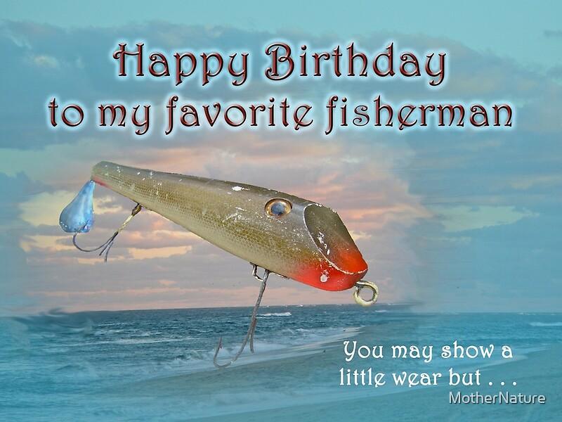 Fisherman birthday card fishmaster vintage fishing lure for Fishing birthday wishes