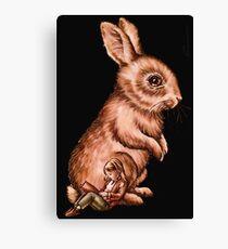 Cartoon Child with Bunny Rabbit Drawing Canvas Print