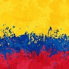 «Bandera de Colombia - Grunge salpicado desordenado» de Garyck Arntzen