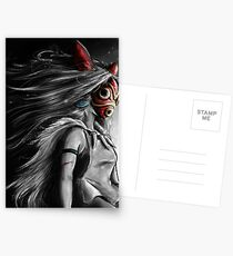 Mononoke Wolf Anime Tra Digital Painting Postcards