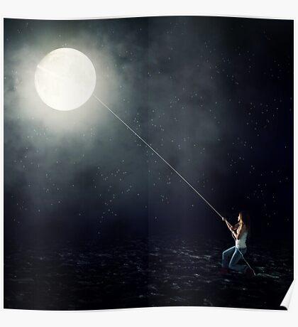 Moon Fishing Poster