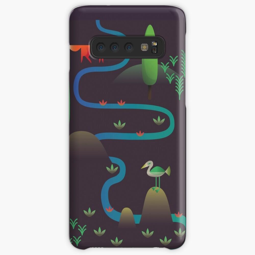 Landschaft - Fuchs und Bach 2 (Muster) Hülle & Klebefolie für Samsung Galaxy