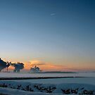 Snowy Sunrise over Misty Power Stations by Rees Adams