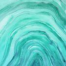 Agate II Aqua Green Watercolor Pattern by blueskywhimsy