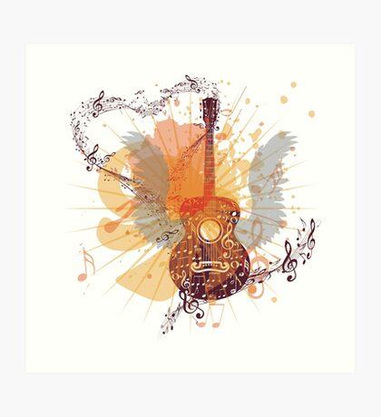 Musik Poster mit Gitarre 5 Kunstdruck