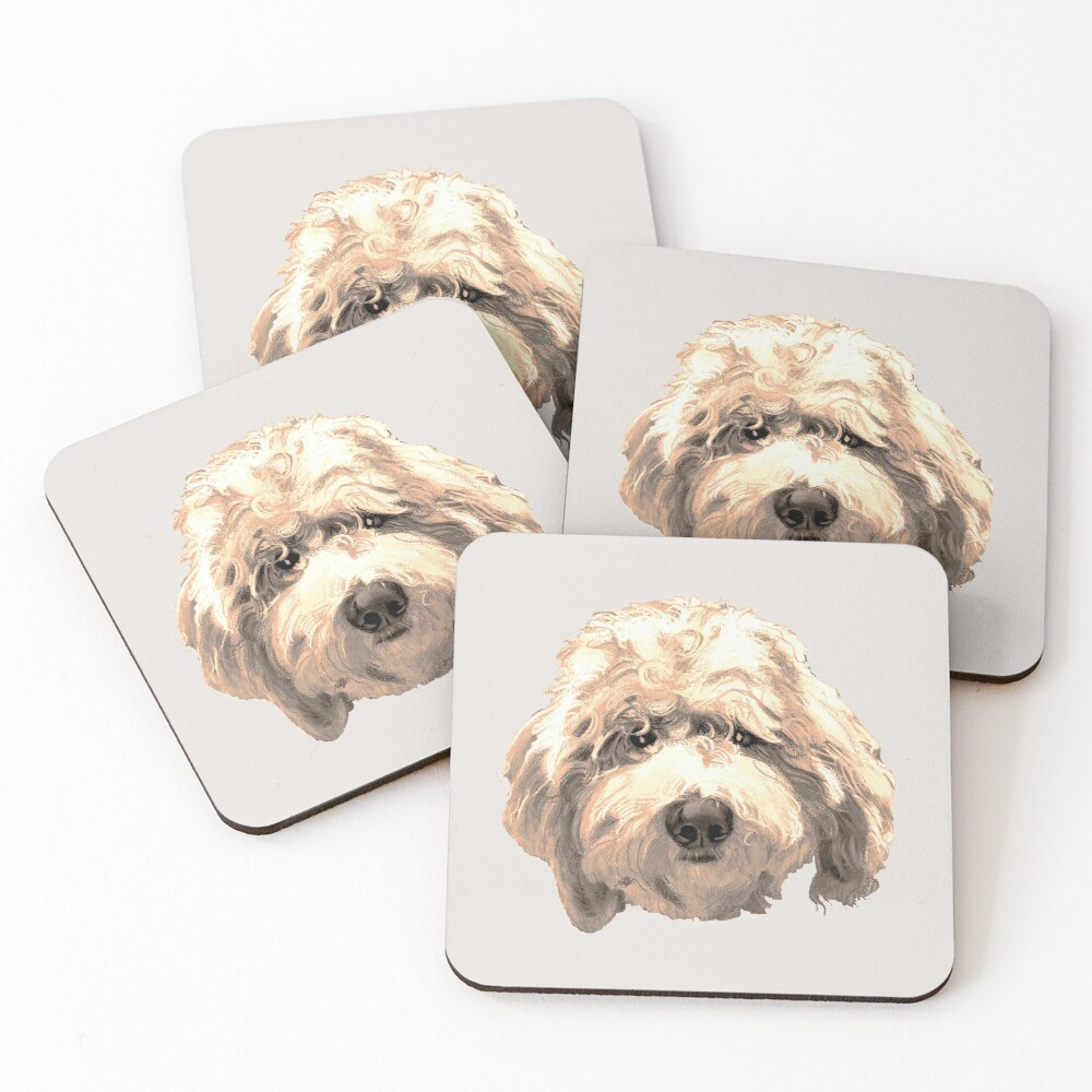 Lucky Labradoodle Face ~ Golden Coasters (Set of 4)