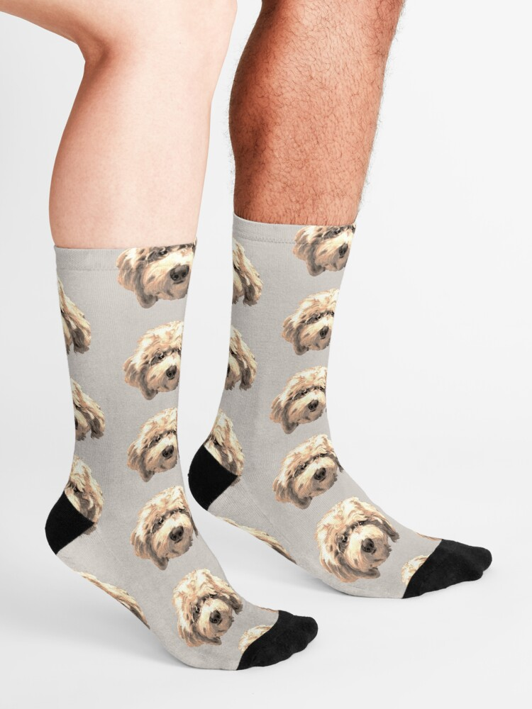 Alternate view of Lucky Labradoodle Face ~ Golden Socks