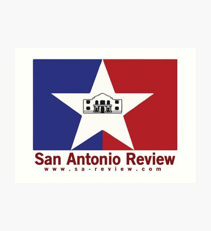 San Antonio Review with San Antonio flag and URL Art Print