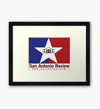 San Antonio Review with San Antonio flag and URL Framed Print