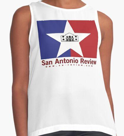 San Antonio Review with San Antonio flag and URL Sleeveless Top