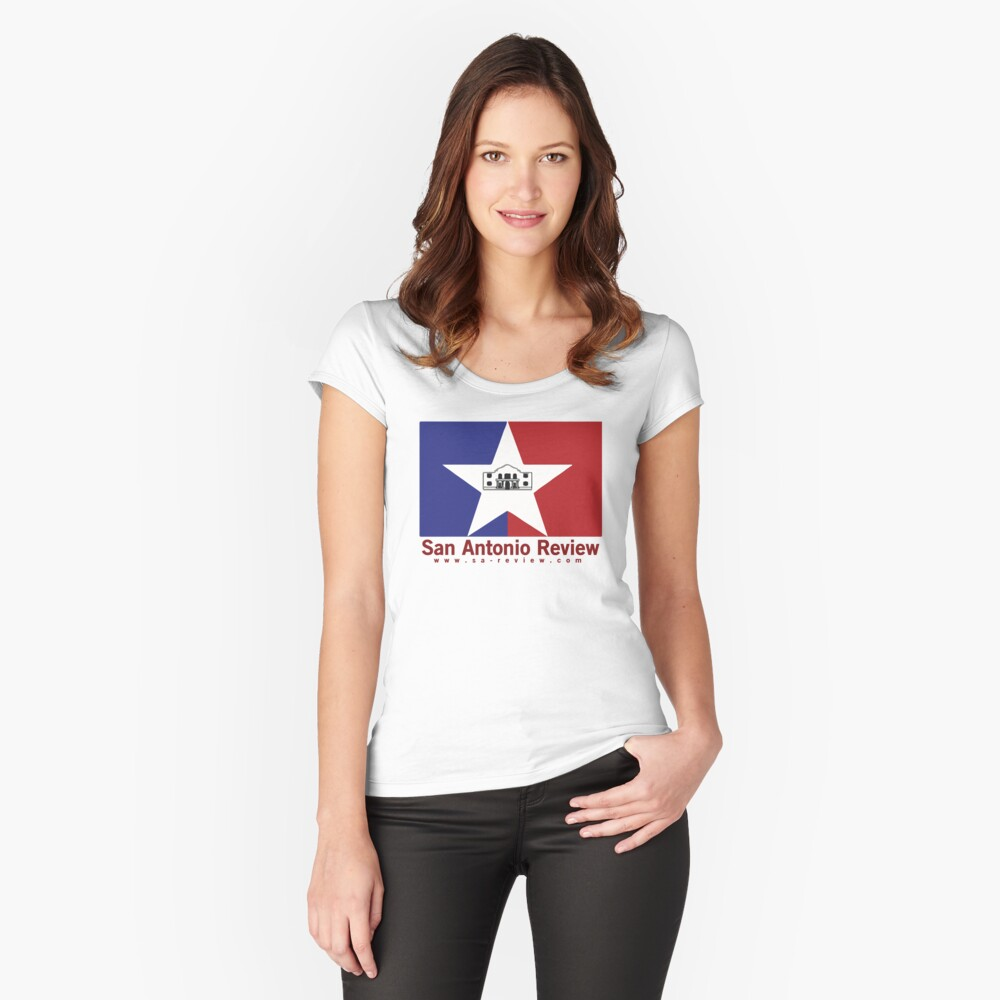 San Antonio Review with San Antonio flag and URL Fitted Scoop T-Shirt
