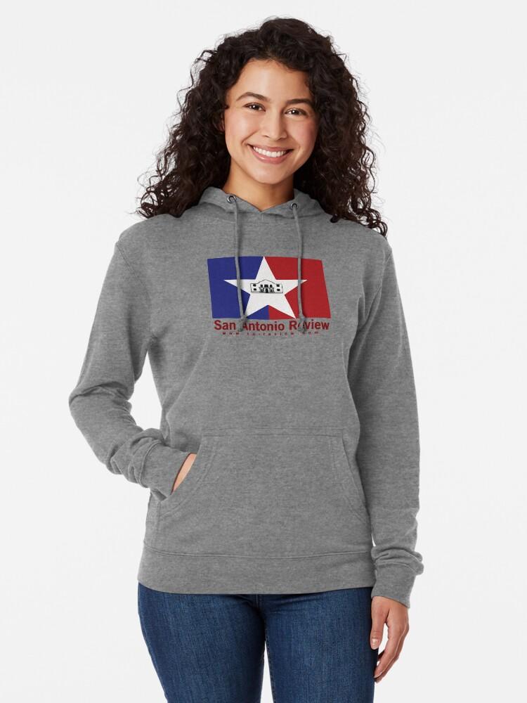 Alternate view of San Antonio Review with San Antonio flag and URL Lightweight Hoodie