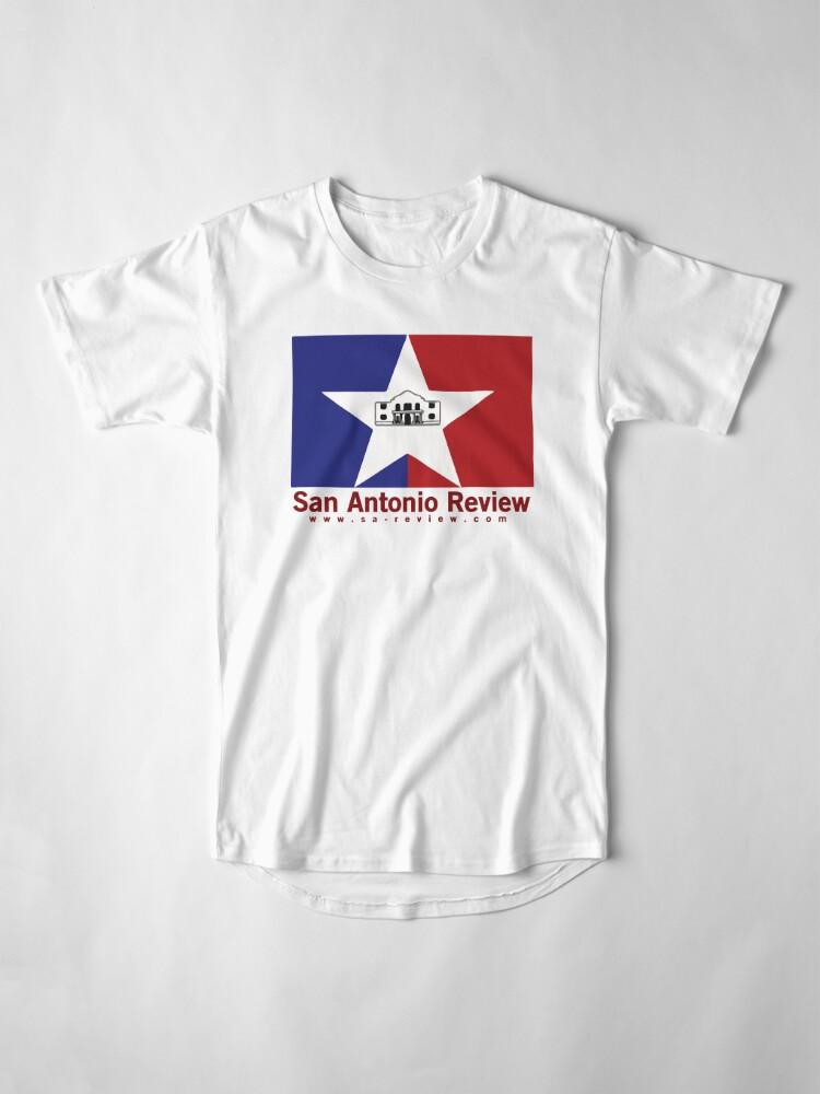 Alternate view of San Antonio Review with San Antonio flag and URL Long T-Shirt