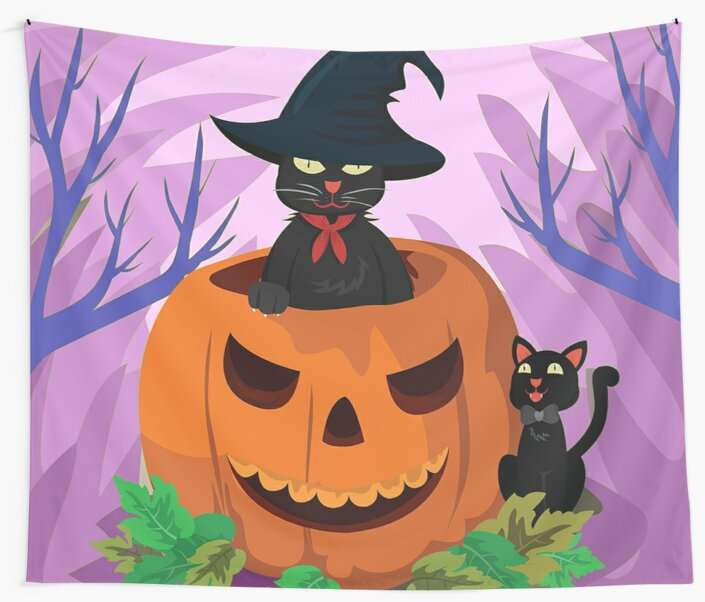 Scary Black Cat Jack-o-lantern Halloween Jungle Wall Tapestry