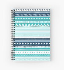 Blue Aqua White tribal pattern Spiral Notebook