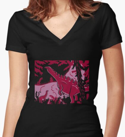 Long Necks - Lavender and Pink Women's Fitted V-Neck T-Shirt