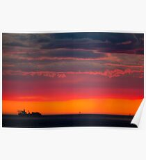 Shipping at Sunset Poster