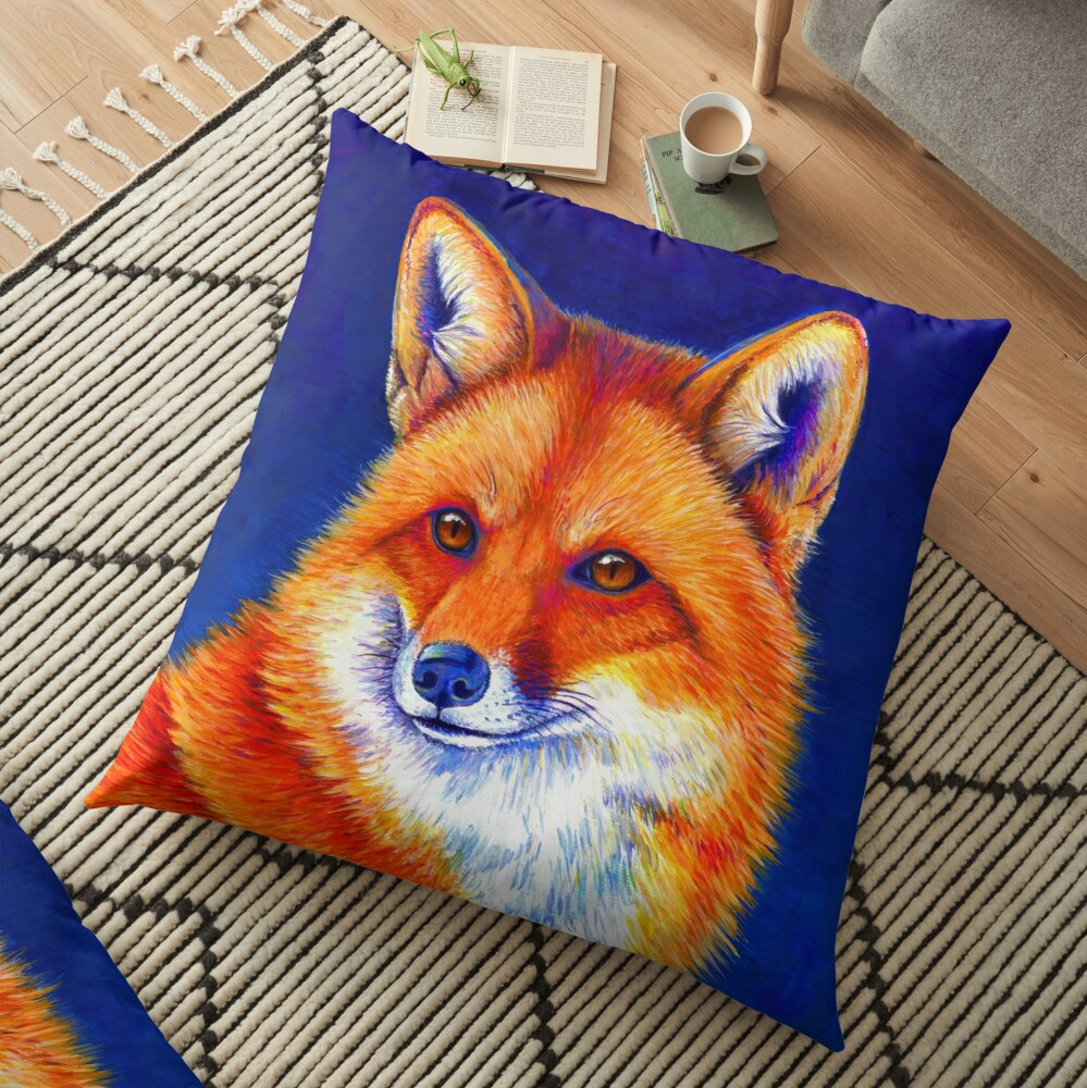 Vibrant Flame - Colorful Red Fox Floor Pillow