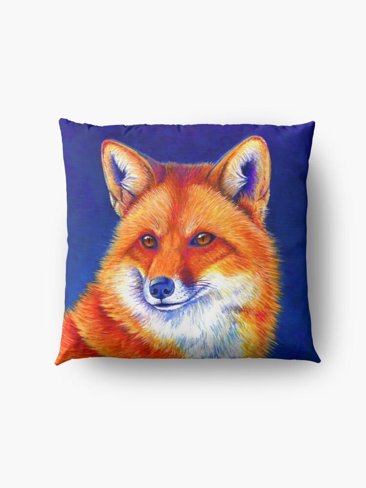 Alternate view of Vibrant Flame - Colorful Red Fox Floor Pillow