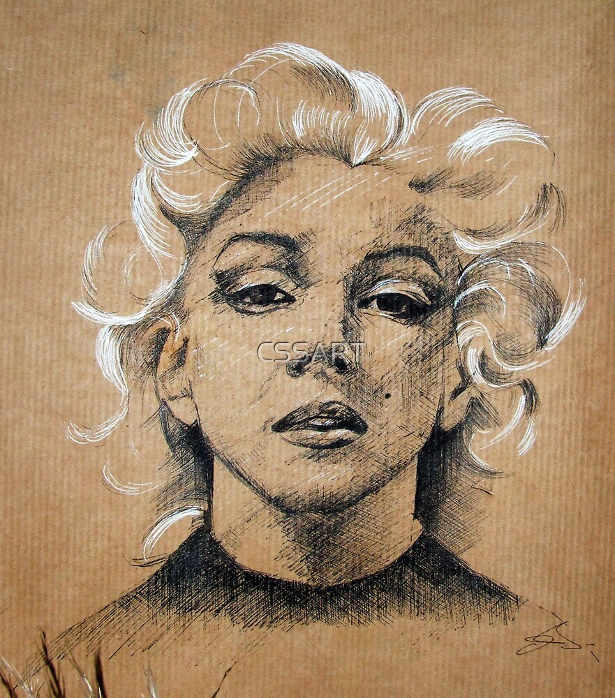Marilyn ink B&W by CSSART