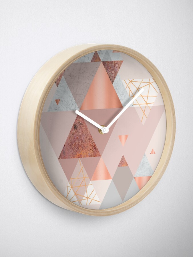 Alternate view of Blush Pink Geo Clock