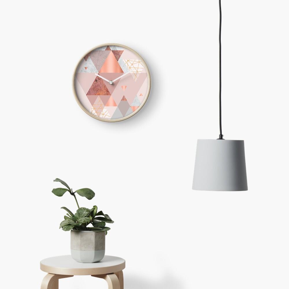 Blush Pink Geo Clock