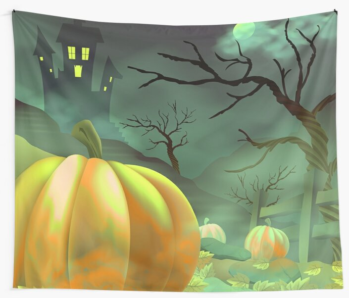 Haunted House Halloween Pumpkin Patch Wall Tapestry