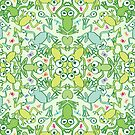 Frogs in every corner of this slimy pattern design by Zoo-co