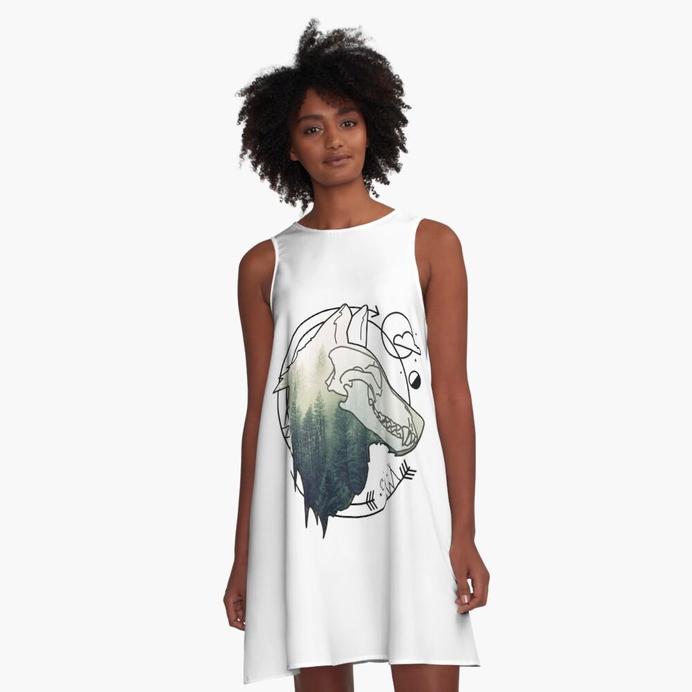 Wolf animal forest totem skull art A-Linien Kleid