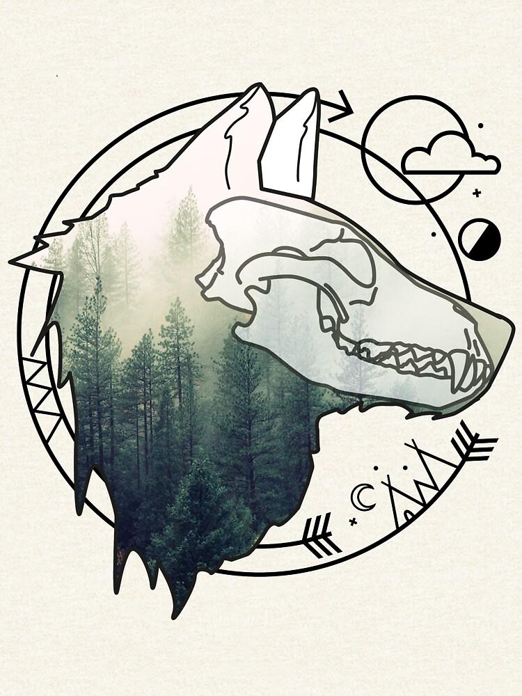 Wolf animal forest totem skull art von masatomio