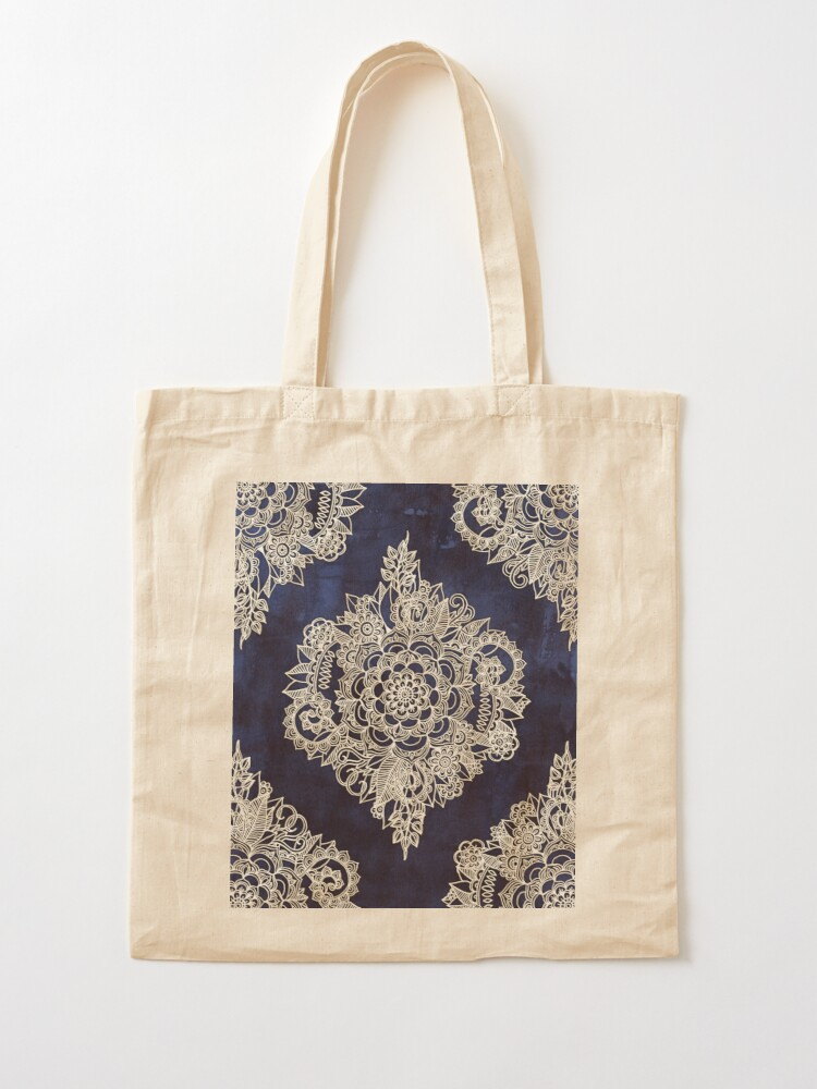 Alternate view of Cream Floral Moroccan Pattern on Deep Indigo Ink Tote Bag