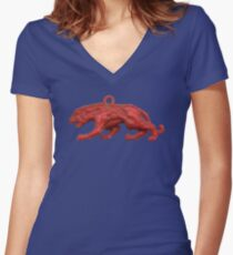 Red panther on blue grass Fitted V-Neck T-Shirt