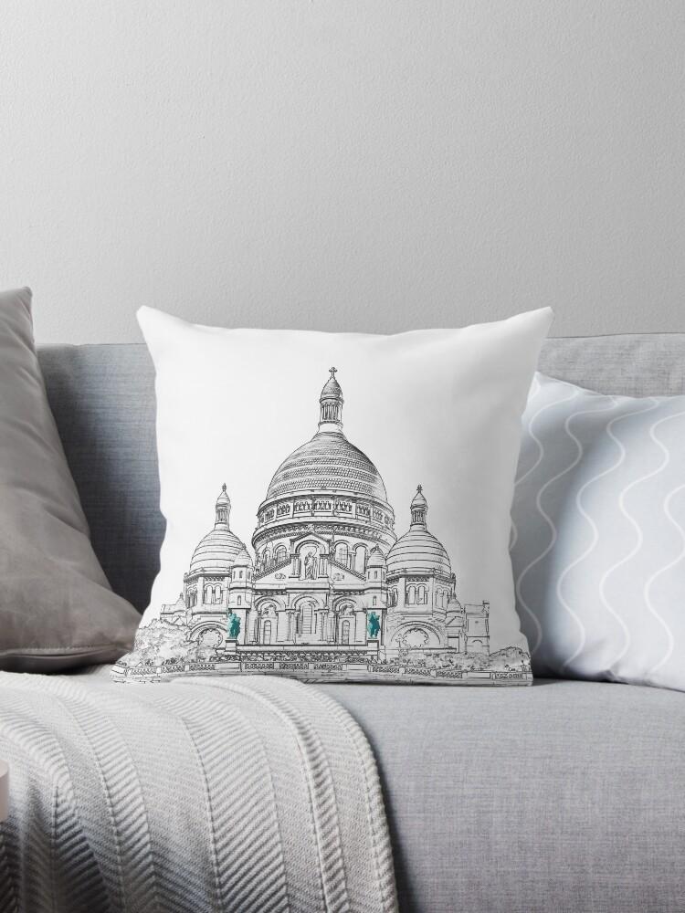 Sacre Coeur Basilica On Montmartre Hill Paris Throw Pillow By Ulysse Pixel