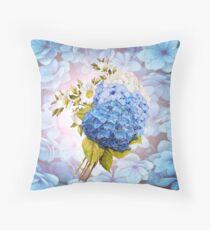 Blue Shades of Watercolor Hydrangeas  Throw Pillow