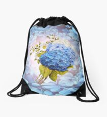 Blue Shades of Watercolor Hydrangeas  Drawstring Bag