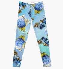 Blue Shades of Watercolor Hydrangeas  Leggings
