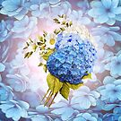 Blue Shades of Watercolor Hydrangeas  by NadineMay