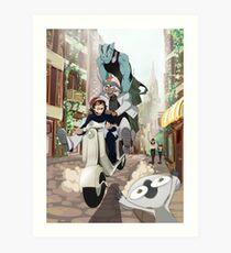 Kekkai Sensen - Leonardo, Zapp and Zed on vespa Art Print