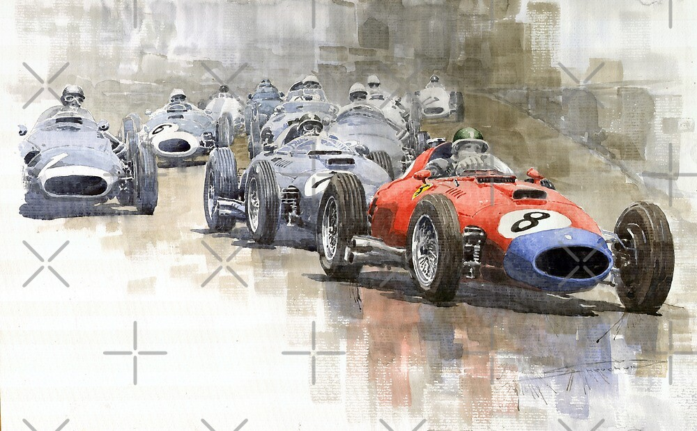 Red Car Ferrari 801Mike Hawthorn German GP 1957  by Yuriy Shevchuk