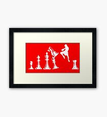Kickboxing Chess Jumping Knee White  Framed Print