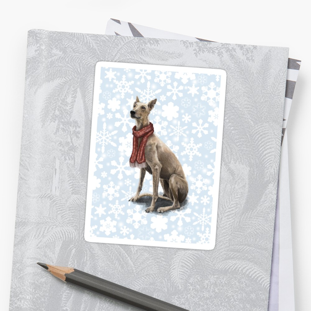 Ruby the Christmas Greyhound Sticker