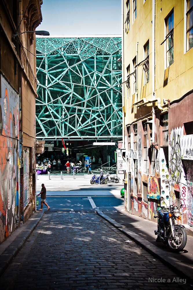 View of Federation Square from Hosier Lane, Melbourne by Nicole a Alley
