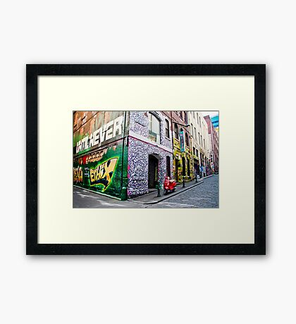 Hosier and Rutledge Lanes, Melbourne Framed Print