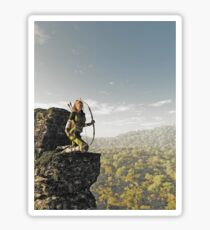 Blonde Female Elf Archer above the Forest Sticker