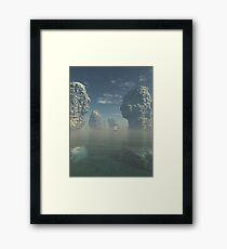 Sailing Ship and Giant Sea Stacks Framed Print