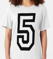 5, TEAM, SPORTS, NUMBER 5, FIFTH, FIVE, Competition,  Slim Fit T-Shirt