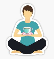 Meditating Meditate Coffee Lover Yogini Yoga, Cuppa Mindful Sticker