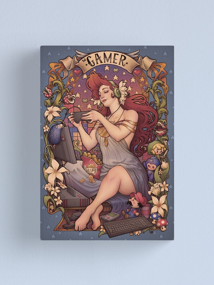 Alternate view of Gamer girl Nouveau Canvas Print